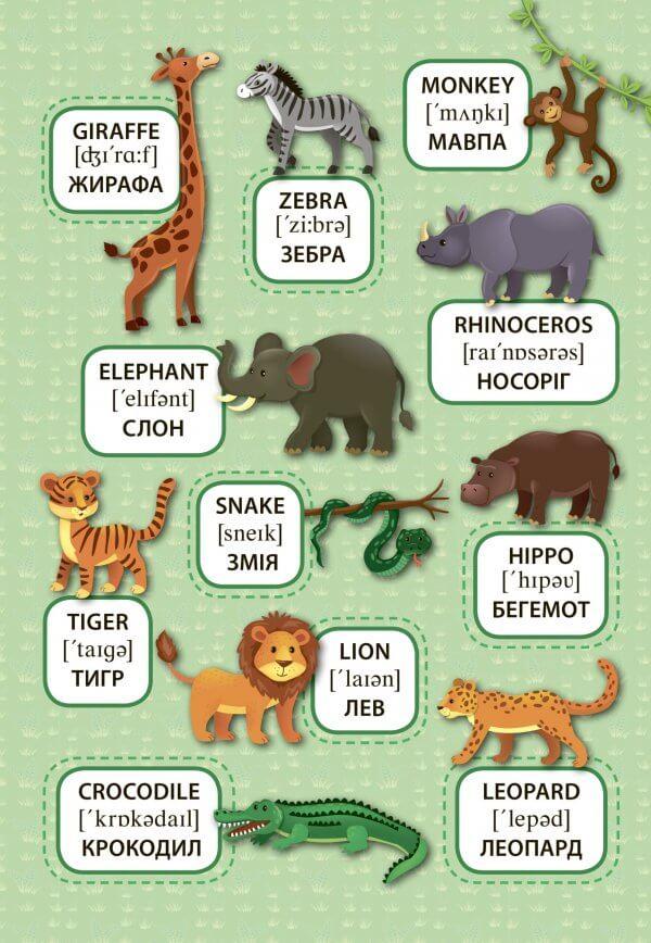 Дикі тварини. Wild Animals. Перші слова.