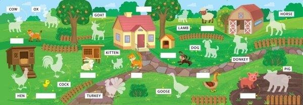 Свійські тварини. Domestic Animals. Перші слова.