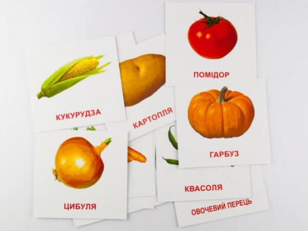 Овочі. Картки міні з мобільним додатком