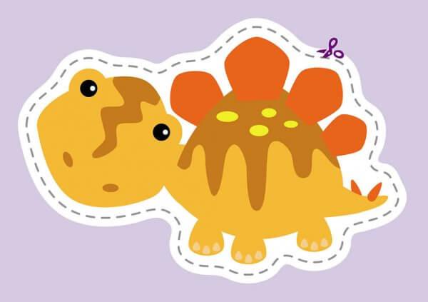 Кумедні динозаврики. Вирізалки для найменших.