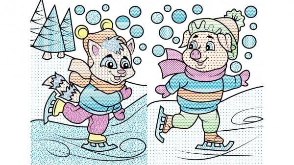 Водные раскраски. Енот в зимней сказке