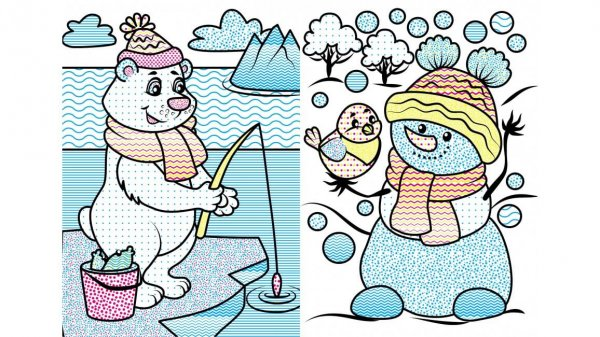 Водные раскраски. Кабанчик в зимней сказке