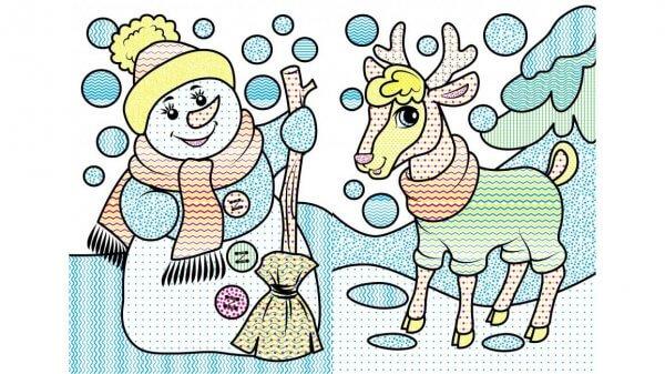 Водные раскраски. Лисенок в зимней сказке